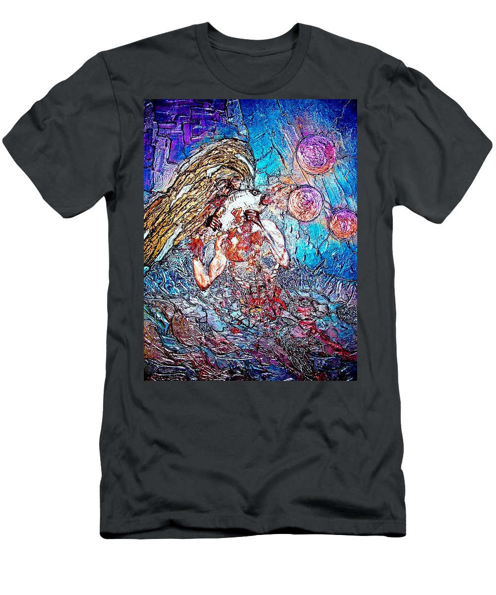Cosmogony Men's T-Shirt (Athletic Fit) featuring the painting Cosmogony Ainu by Bob Money