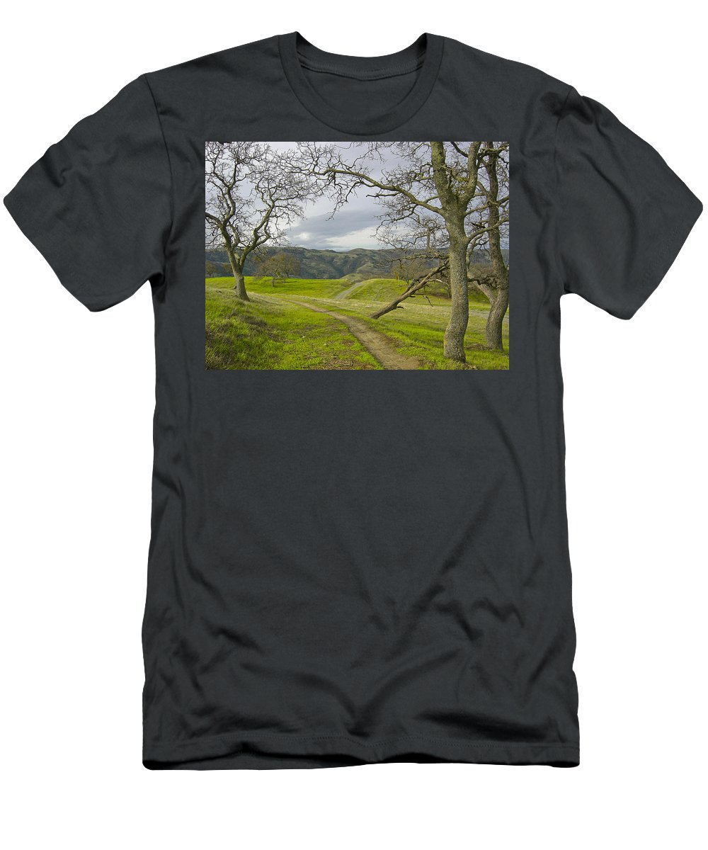 Landscape Men's T-Shirt (Athletic Fit) featuring the photograph East Ridge Trail Spring by Karen W Meyer