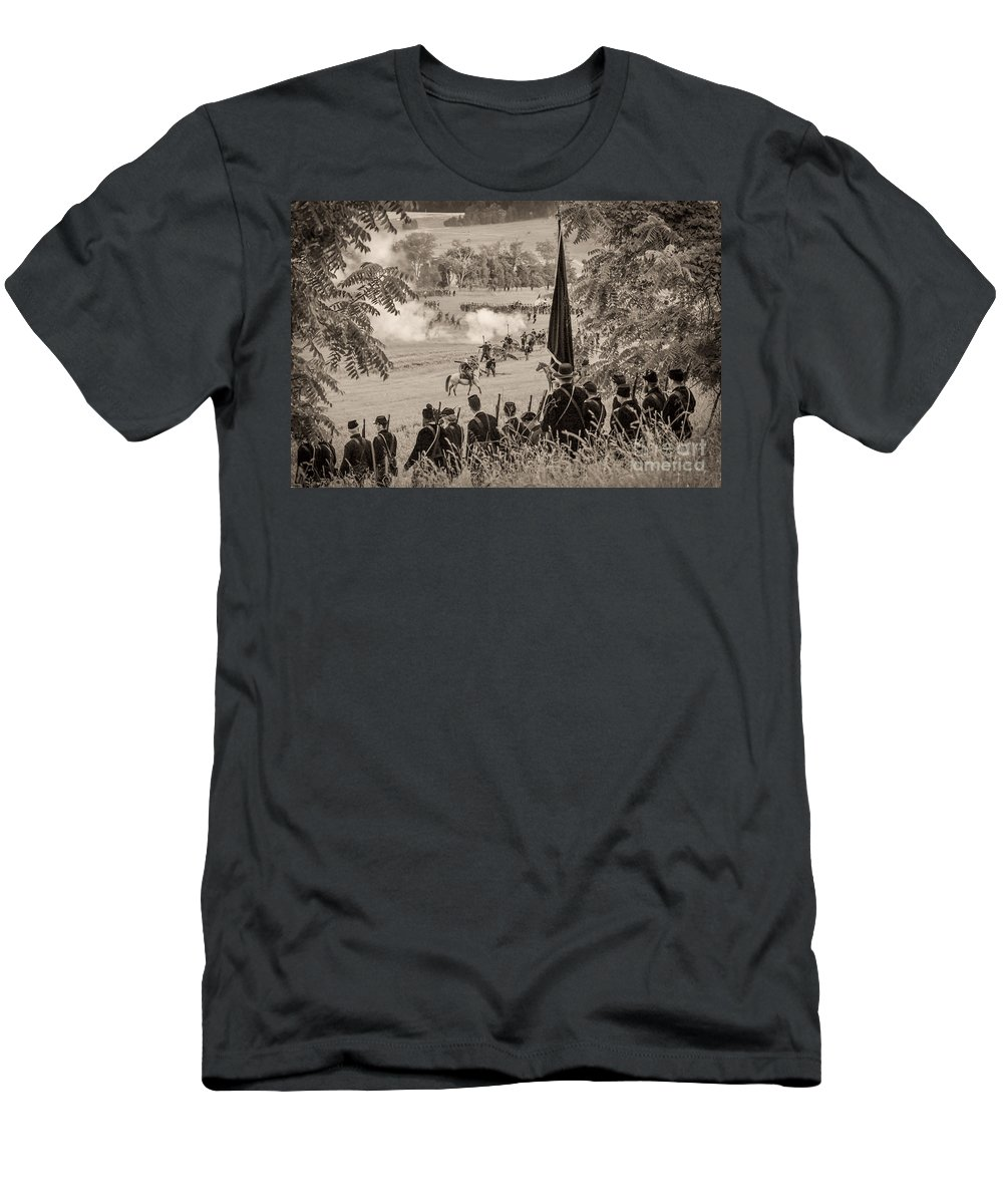 150th Men's T-Shirt (Athletic Fit) featuring the photograph Gettysburg Union Artillery And Infantry 7457s by Cynthia Staley