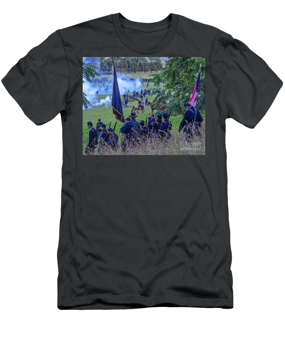 150th Men's T-Shirt (Athletic Fit) featuring the photograph Gettysburg Union Artillery And Infantry 7459c by Cynthia Staley