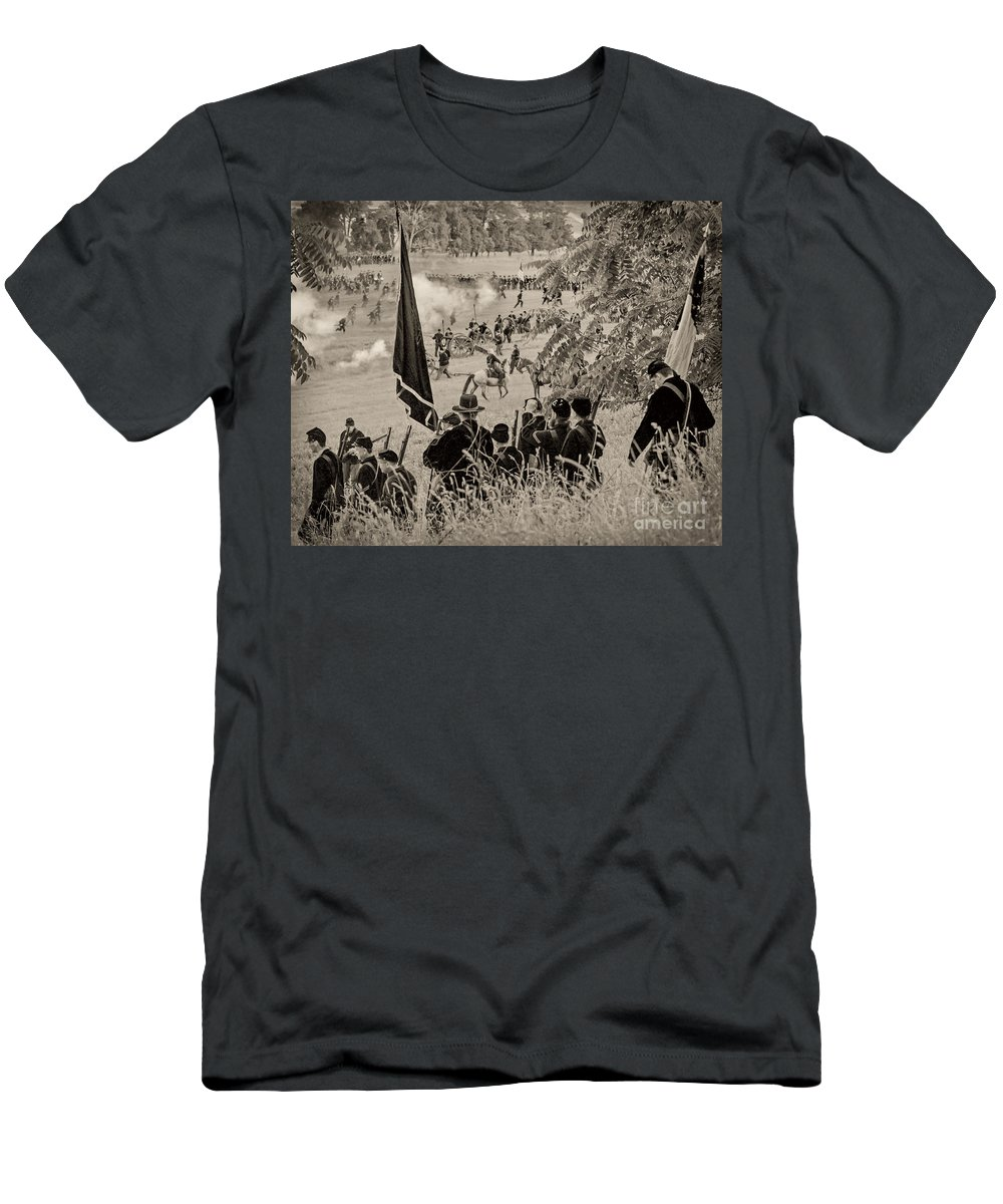 150th Men's T-Shirt (Athletic Fit) featuring the photograph Gettysburg Union Artillery And Infantry 7459s by Cynthia Staley