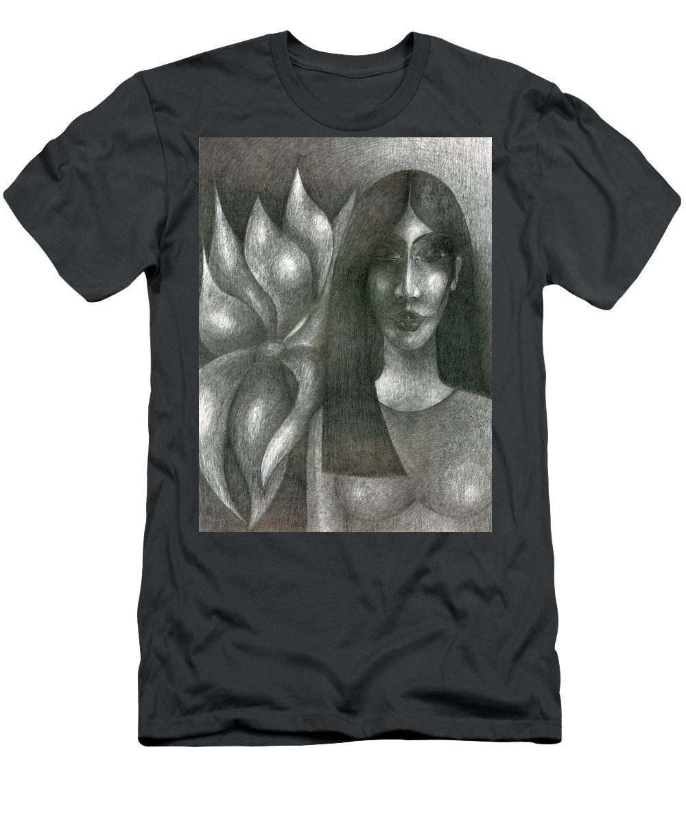 Psychedelic Men's T-Shirt (Athletic Fit) featuring the drawing I And My Flower by Wojtek Kowalski