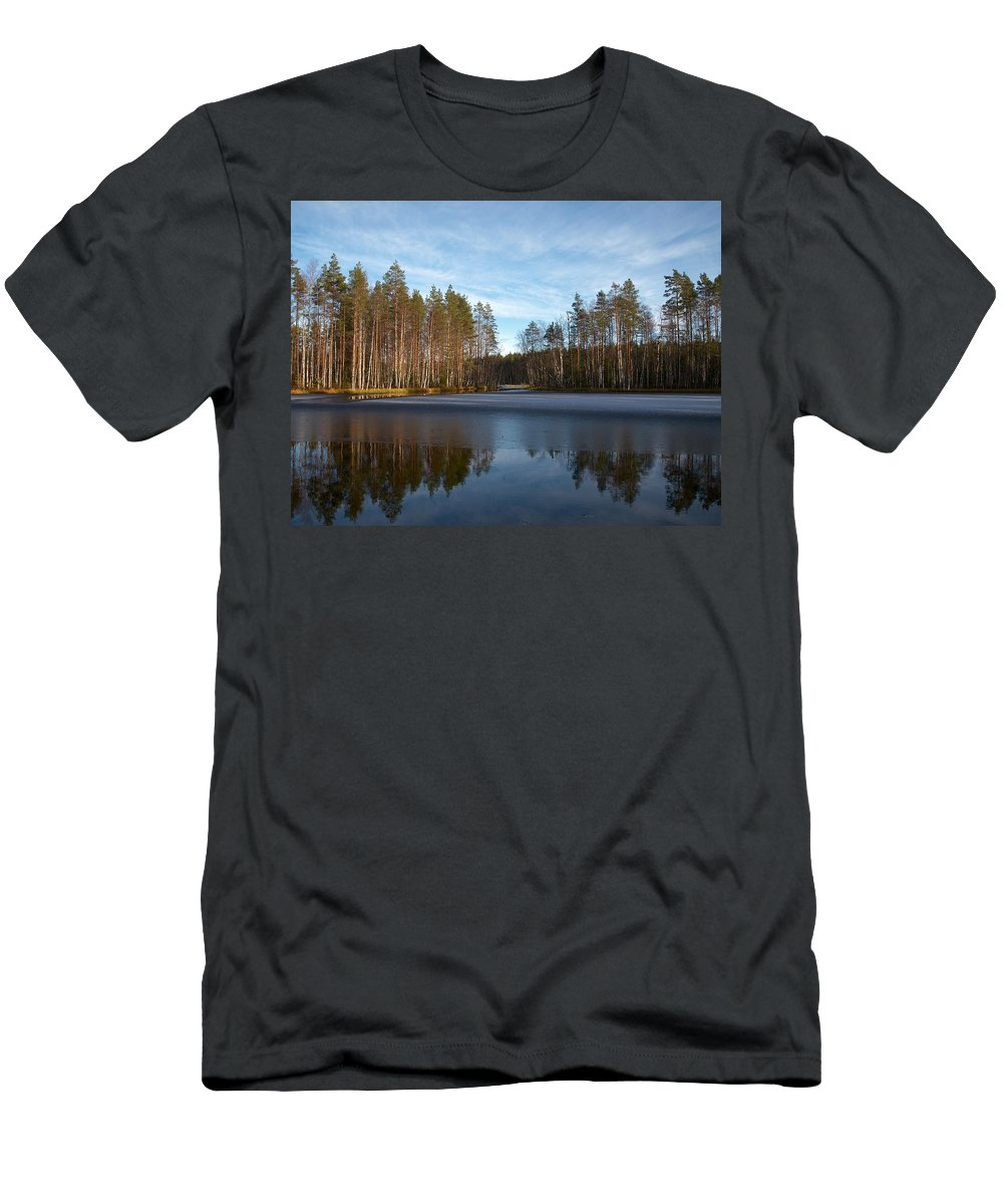 Lehtokukka Men's T-Shirt (Athletic Fit) featuring the photograph Liesilampi 5 by Jouko Lehto