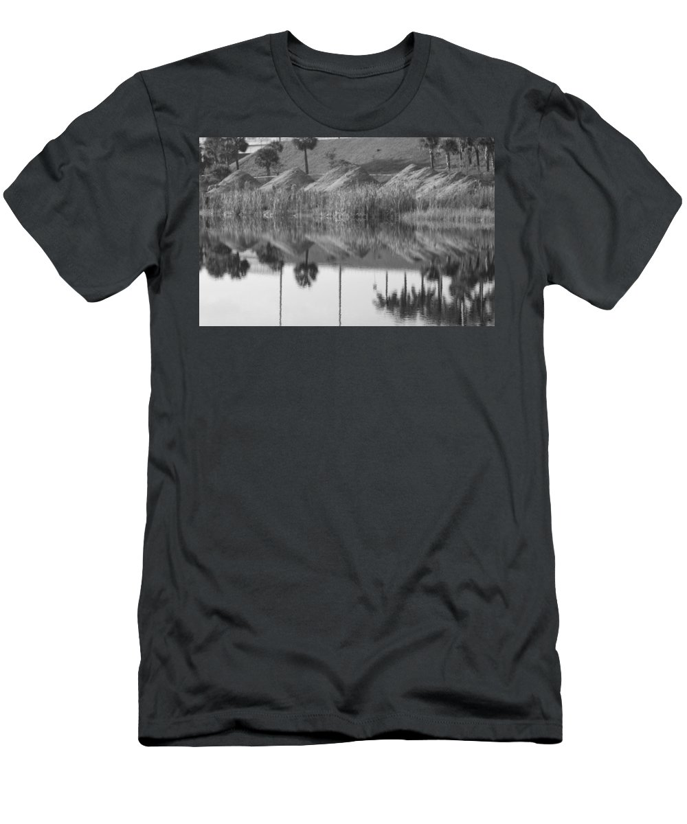 Pyrimids Men's T-Shirt (Athletic Fit) featuring the photograph Pyrimids By The Lakeside Cache by Rob Hans