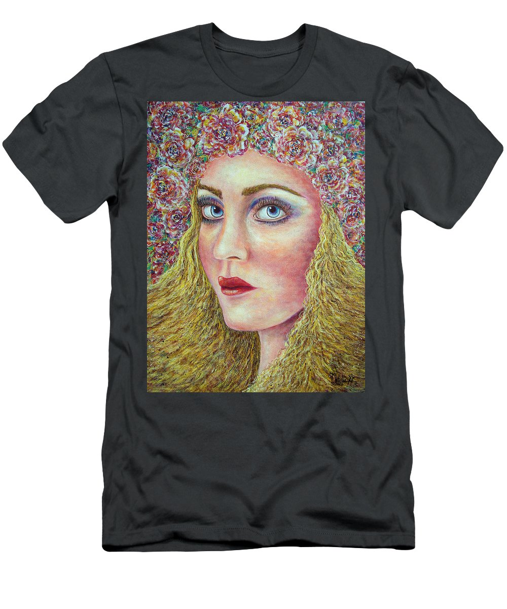 Woman Men's T-Shirt (Athletic Fit) featuring the painting  The Flower Girl by Natalie Holland
