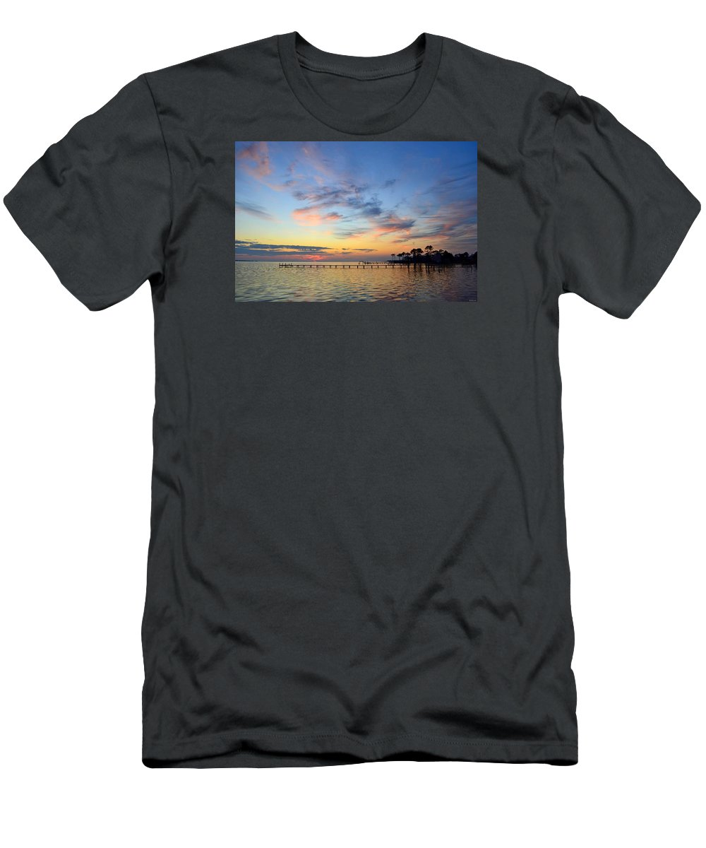 20120201 Men's T-Shirt (Athletic Fit) featuring the photograph 0201 Sunset Wisps On Sound by Jeff at JSJ Photography