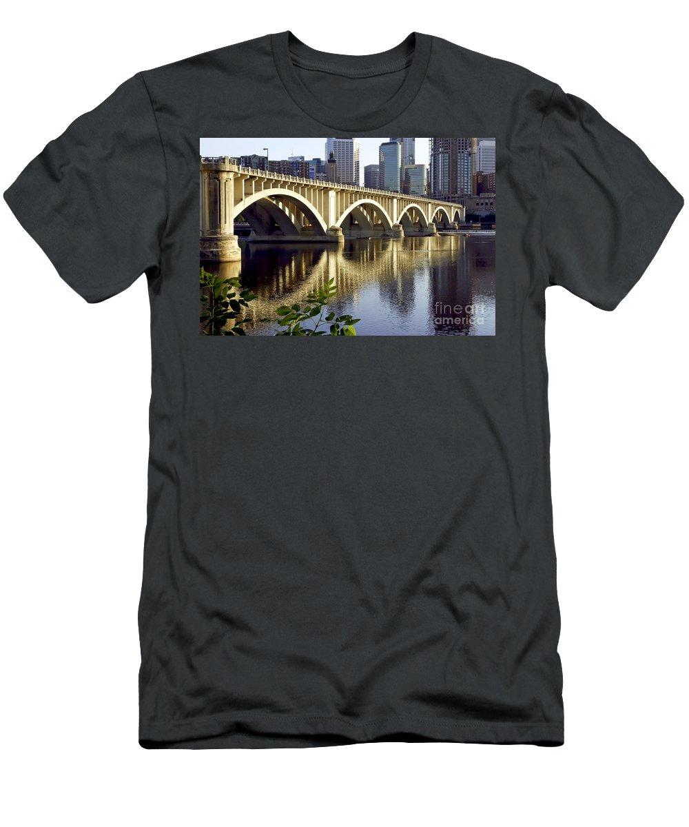 Scenic Men's T-Shirt (Athletic Fit) featuring the photograph 0333 3rd Avenue Bridge Minneapolis by Steve Sturgill