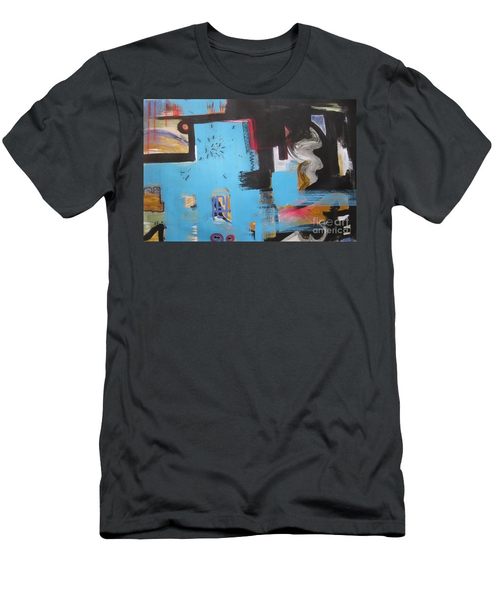 Abstract Men's T-Shirt (Athletic Fit) featuring the painting A False Painting by Seon-Jeong Kim