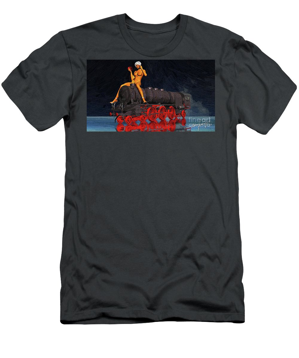 Surrealism Men's T-Shirt (Athletic Fit) featuring the digital art A Surrealist Lady Chatterley by Silvano Franzi
