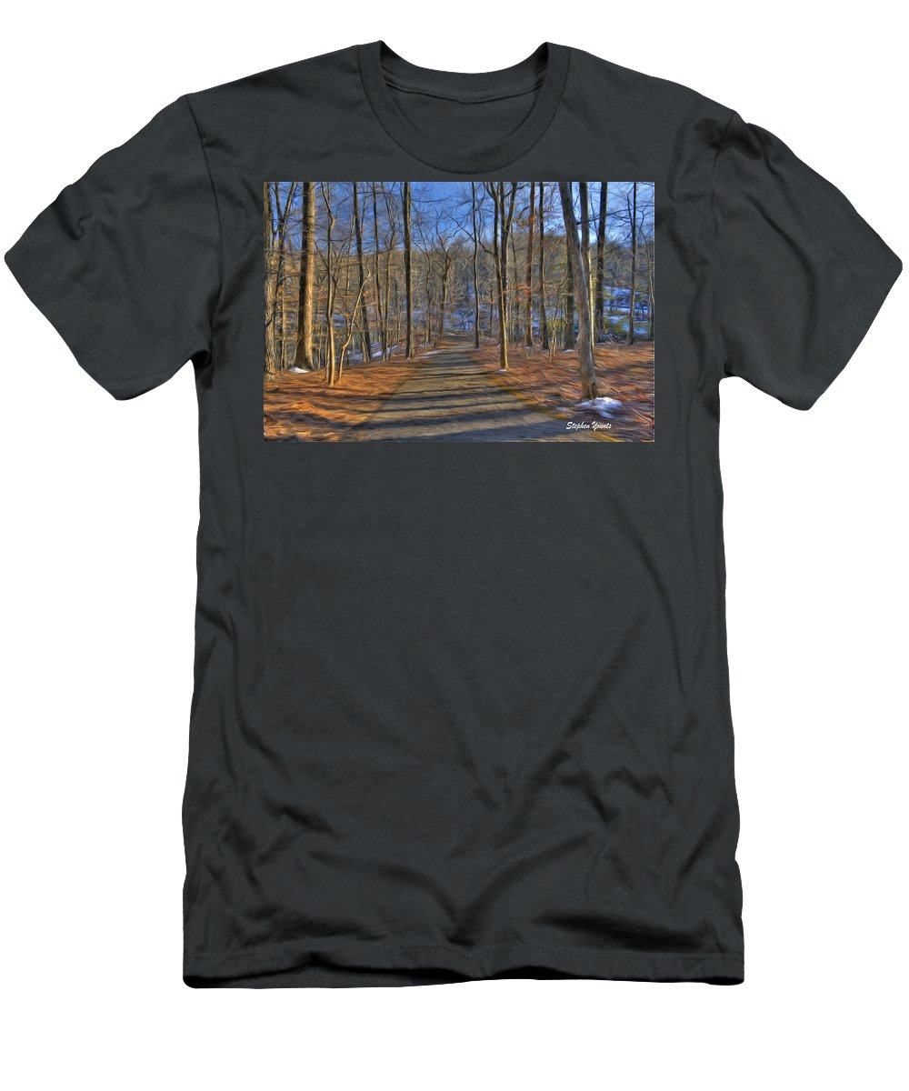 West Men's T-Shirt (Athletic Fit) featuring the digital art A Winter's Walk by Stephen Younts