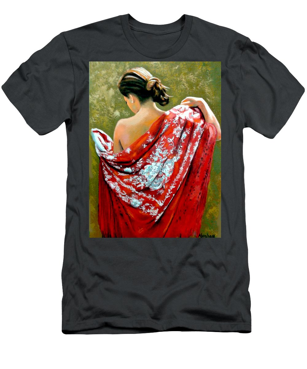 Red T-Shirt featuring the painting aly by Jose Manuel Abraham