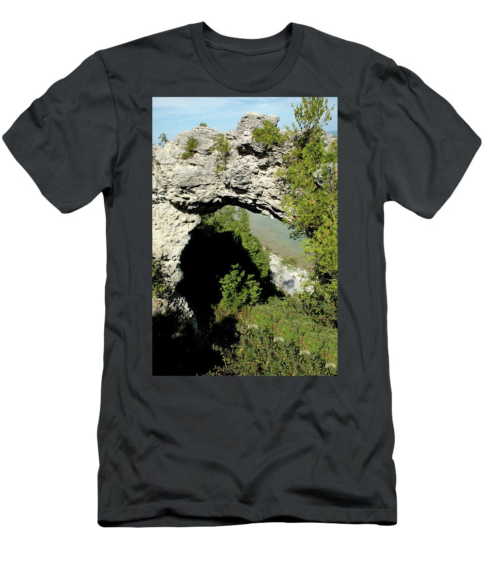 Usa Men's T-Shirt (Athletic Fit) featuring the photograph Arch Rock Mackinac Island by LeeAnn McLaneGoetz McLaneGoetzStudioLLCcom
