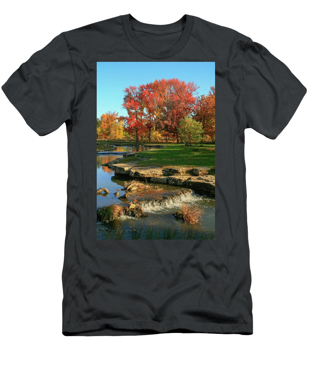 Forest Park Men's T-Shirt (Athletic Fit) featuring the photograph Autumn At The Deer Lake Creek Riffles In Forest Park St Louis Missouri by Garry McMichael