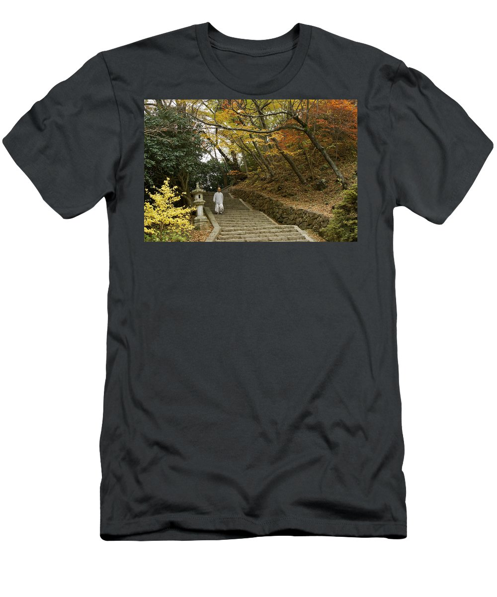 Asia Men's T-Shirt (Athletic Fit) featuring the photograph Autumn Stairway by Michele Burgess