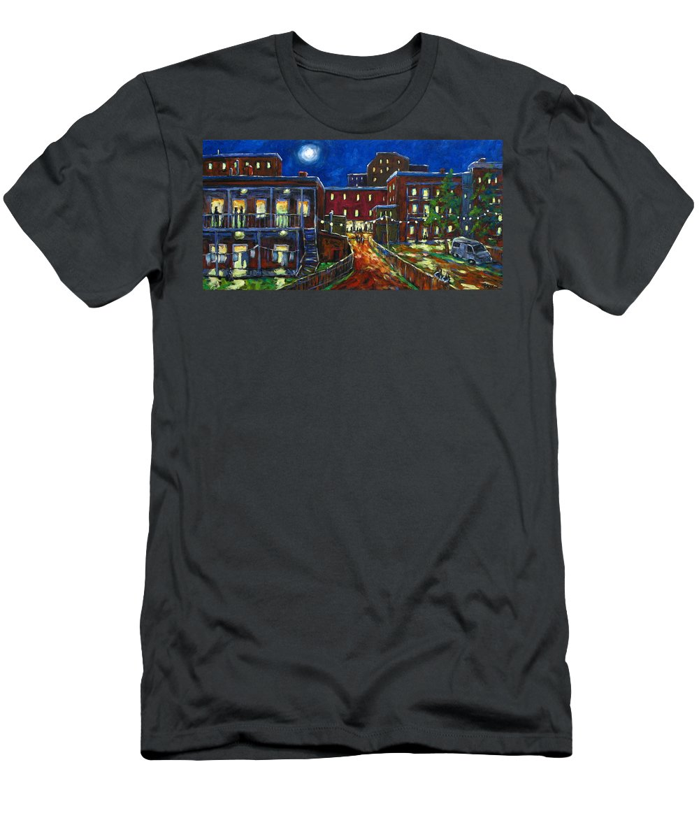 Town Men's T-Shirt (Athletic Fit) featuring the painting Balconville by Richard T Pranke