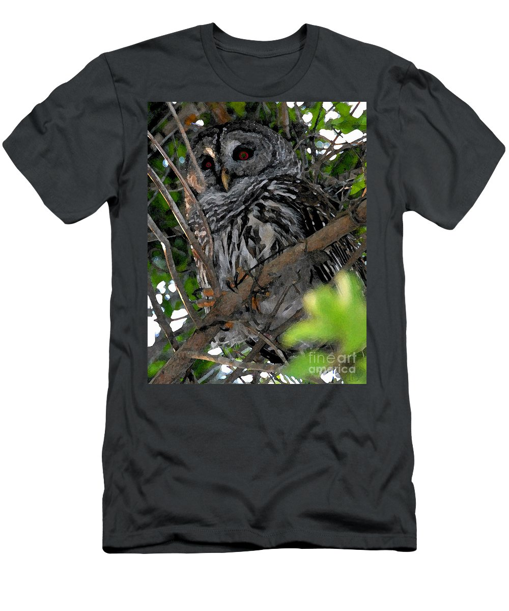 Barred Owl Men's T-Shirt (Athletic Fit) featuring the painting Barred Owl by David Lee Thompson