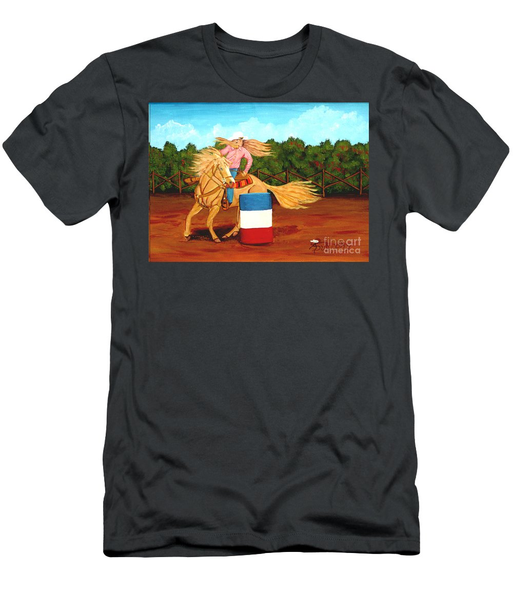 Rodeo T-Shirt featuring the painting Barrel Racer by Anthony Dunphy