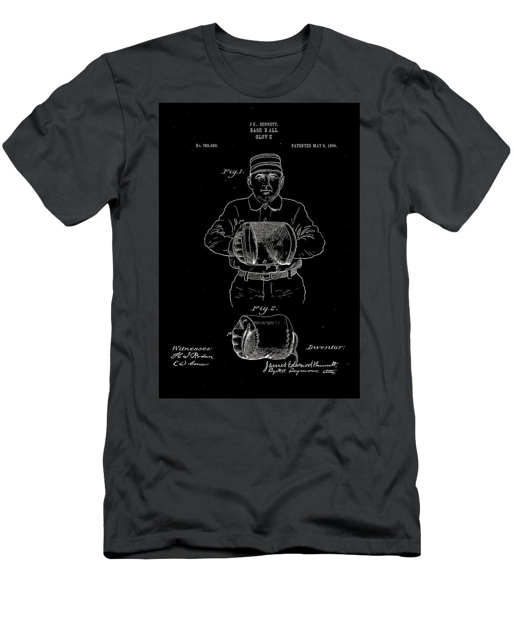 Baseball Men's T-Shirt (Athletic Fit) featuring the digital art Baseball Glove Patent 1905 by Claire Doherty