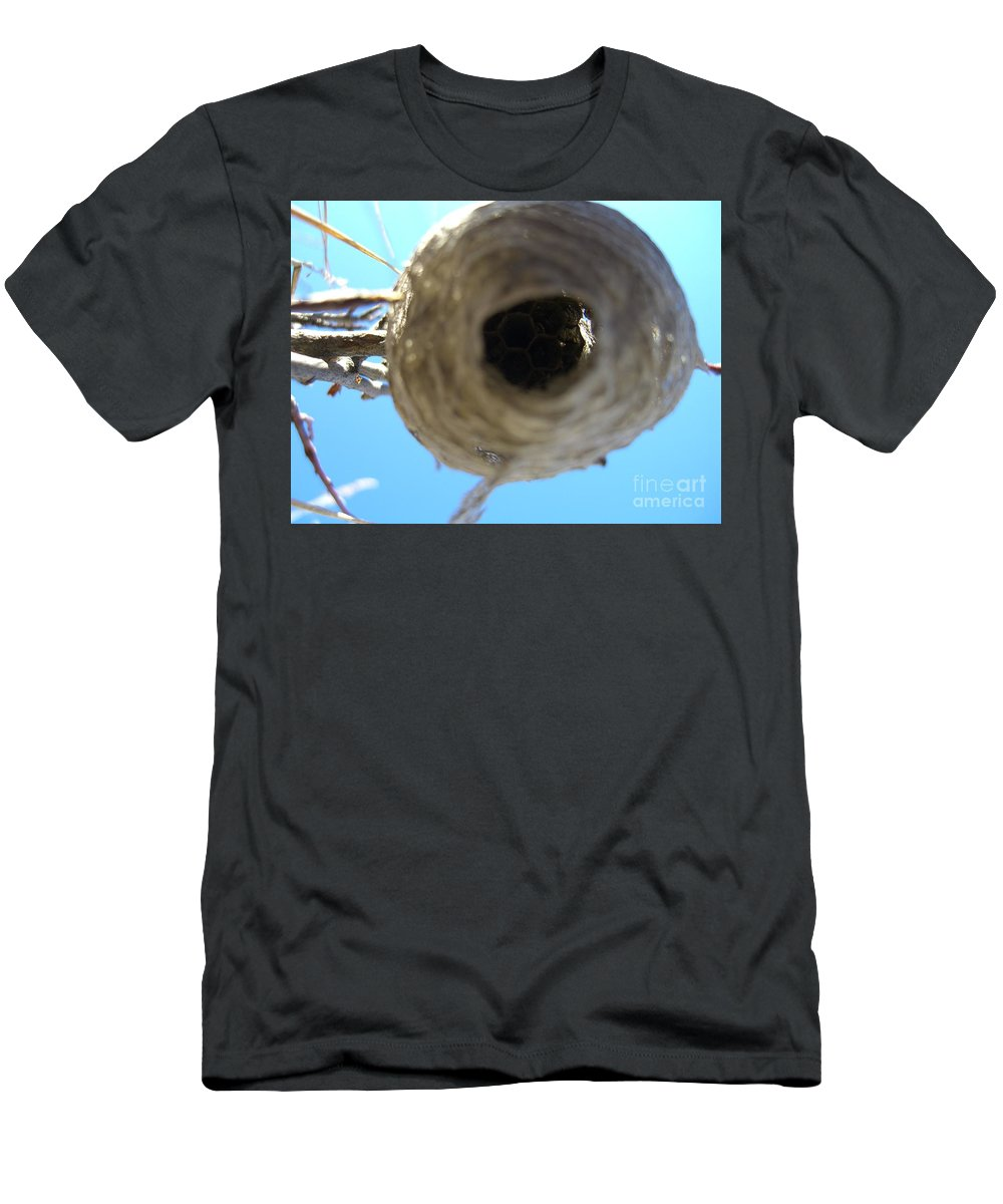Photograph Bee Hive Blue Sky Branch Insect Men's T-Shirt (Athletic Fit) featuring the photograph Bee Hive by Seon-Jeong Kim