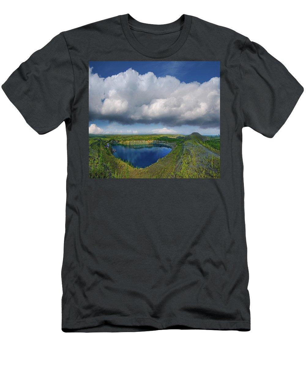 Landscape Men's T-Shirt (Athletic Fit) featuring the photograph Blue Lake by Vladimir Kholostykh