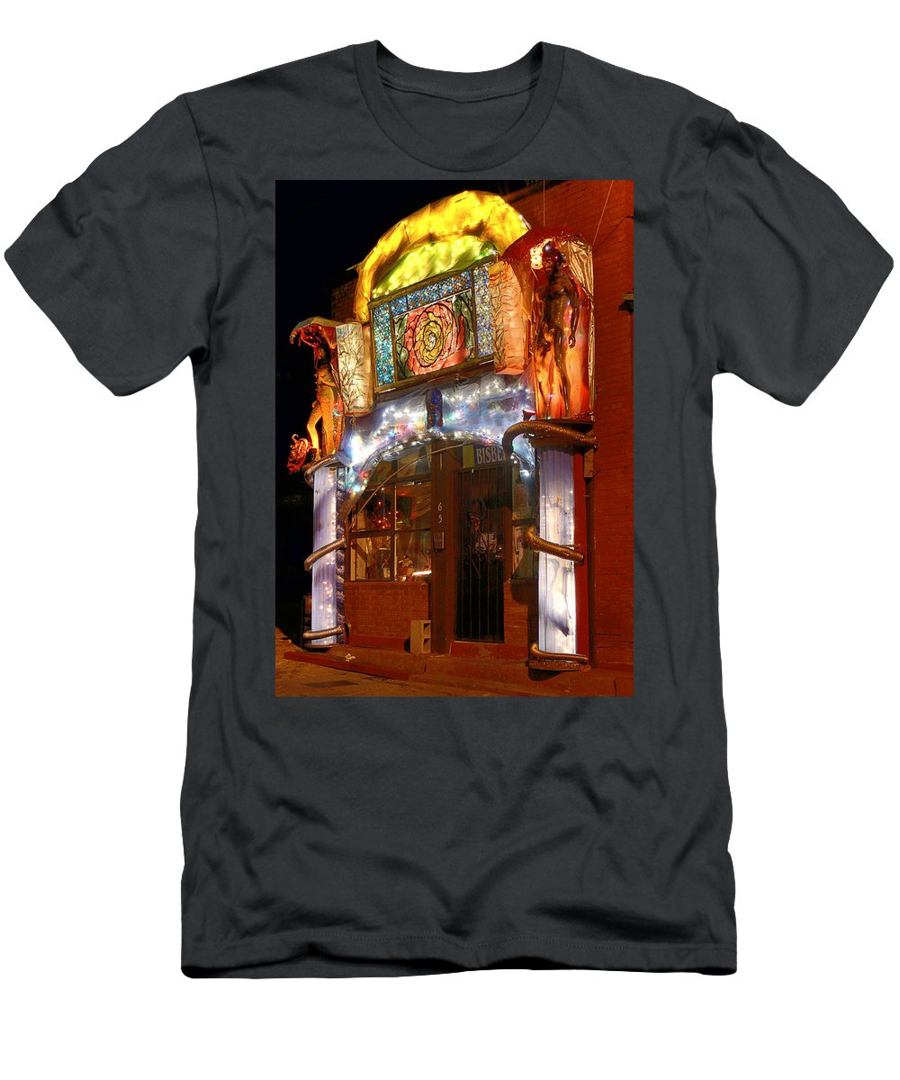 Architecture Men's T-Shirt (Athletic Fit) featuring the photograph Brewery Gulch Color In Bisbee by Charlene Mitchell