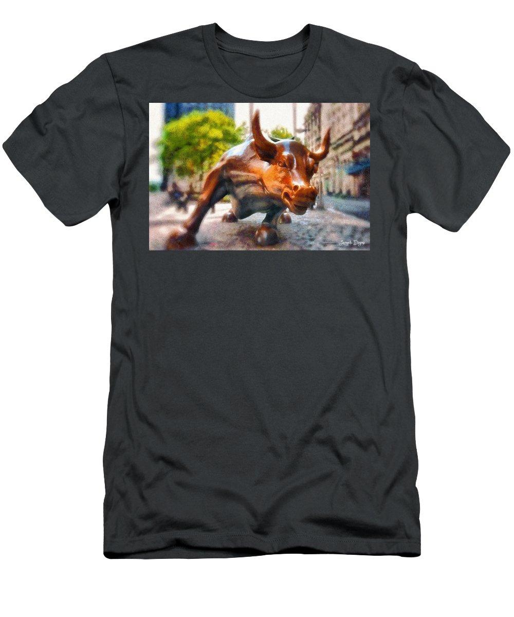 Bull Men's T-Shirt (Athletic Fit) featuring the digital art Bullish - Da by Leonardo Digenio