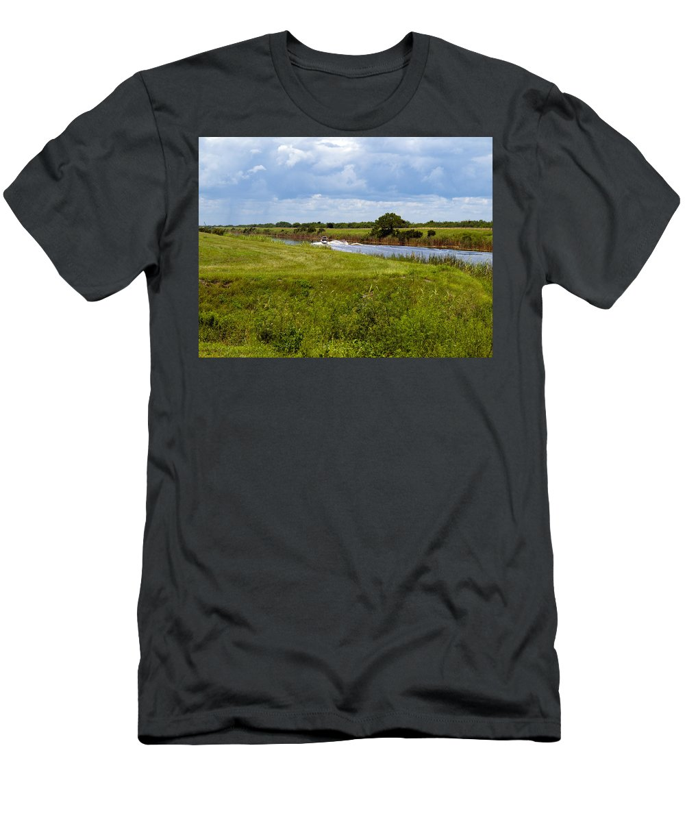Florida; C54; Canal; Fellsmere; Sebastian; Grade; Drain; Draining; Water; Flow; Flowing; Indian; Riv Men's T-Shirt (Athletic Fit) featuring the photograph C54 Canal In Florida by Allan Hughes