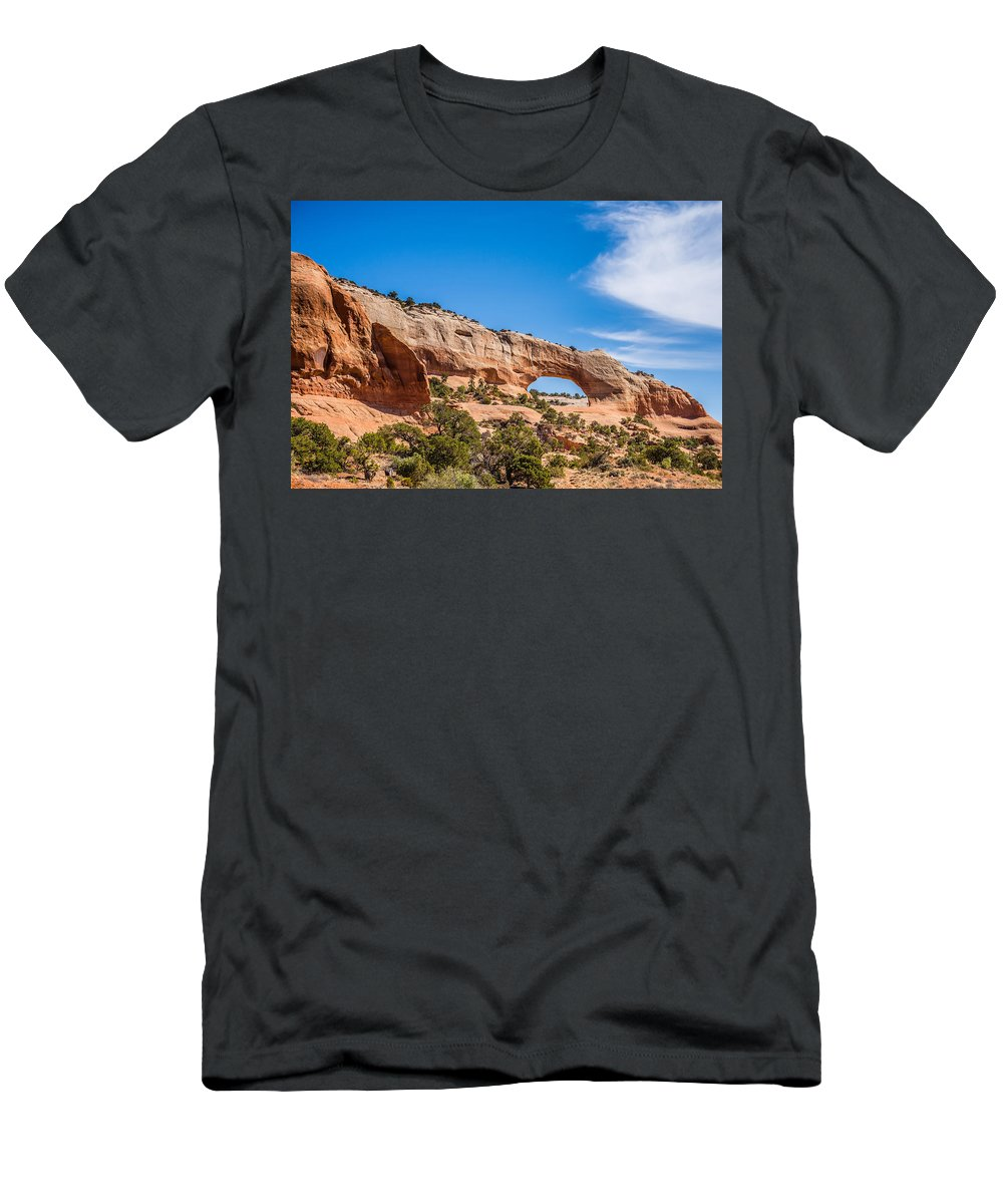 Snow Men's T-Shirt (Athletic Fit) featuring the photograph Canyon Badlands And Colorado Rockies Lanadscape by Alex Grichenko