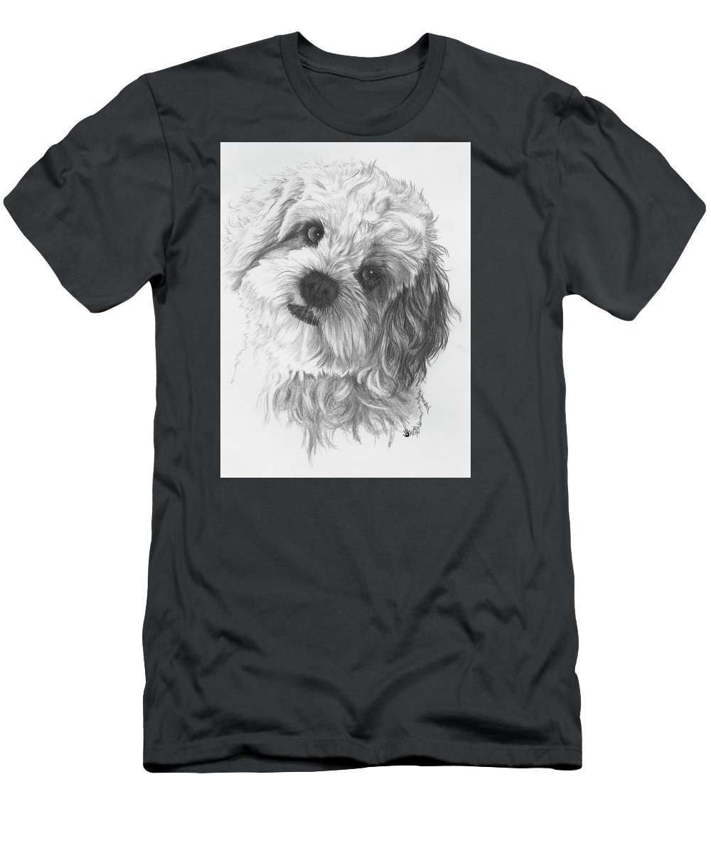 Designer Dog Men's T-Shirt (Athletic Fit) featuring the drawing Cava-chon by Barbara Keith