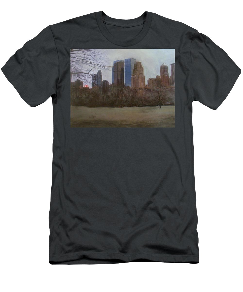Central Park Men's T-Shirt (Athletic Fit) featuring the painting Central Park by Anita Burgermeister