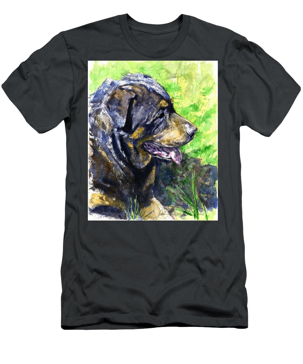 Rottweiler Men's T-Shirt (Athletic Fit) featuring the painting Chaos by John D Benson