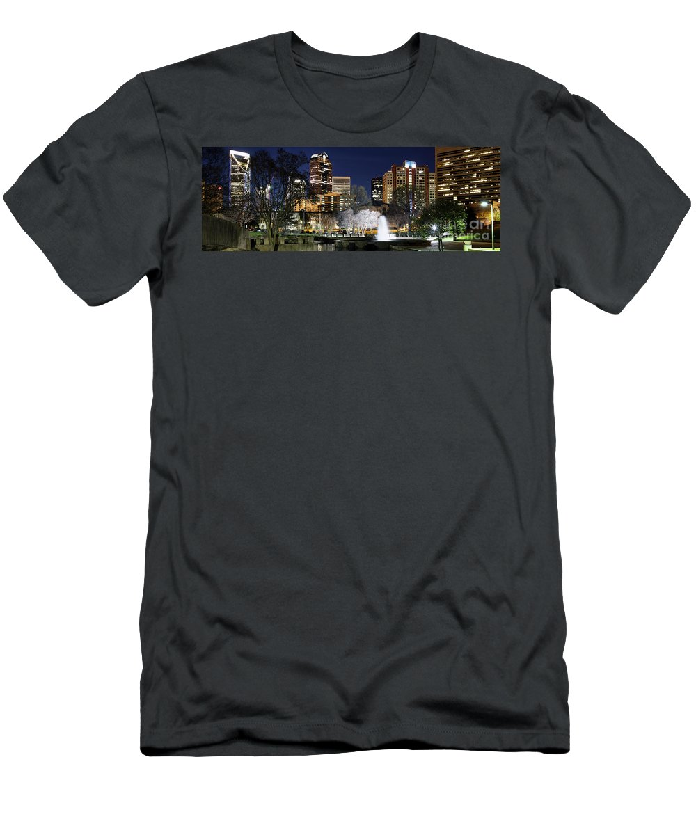 Carolina Men's T-Shirt (Athletic Fit) featuring the photograph Charlotte Skyline Panorama by Bill Cobb
