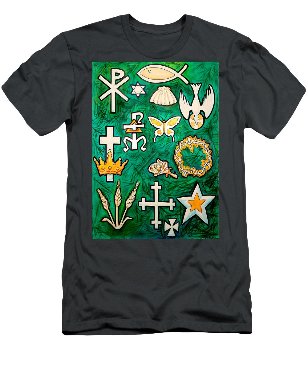 Chrismons Men's T-Shirt (Athletic Fit) featuring the painting Chrismons by Kevin Middleton