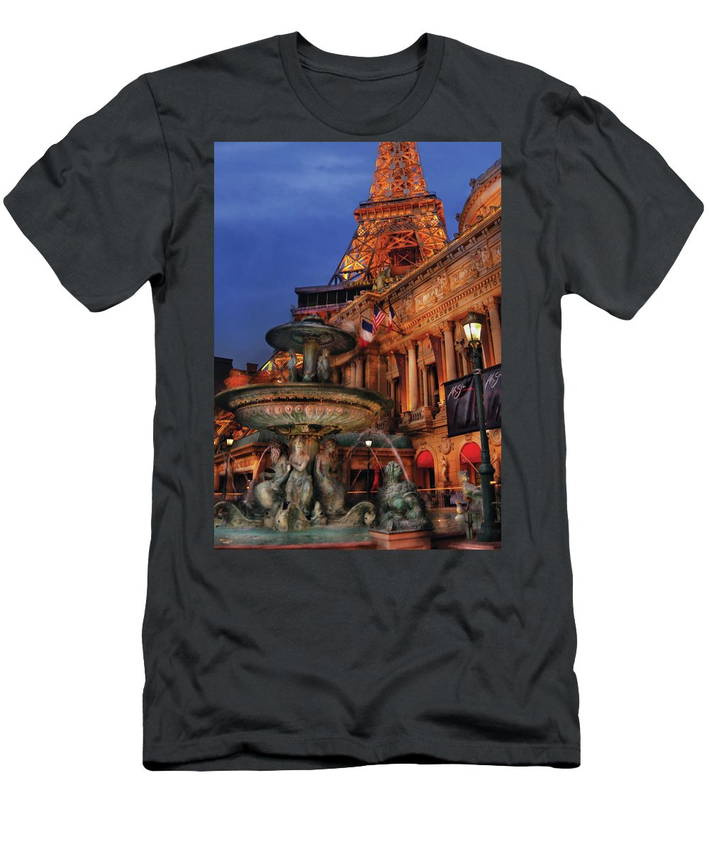 Savad Men's T-Shirt (Athletic Fit) featuring the photograph City - Vegas - Paris - Academie Nationale - Panorama by Mike Savad
