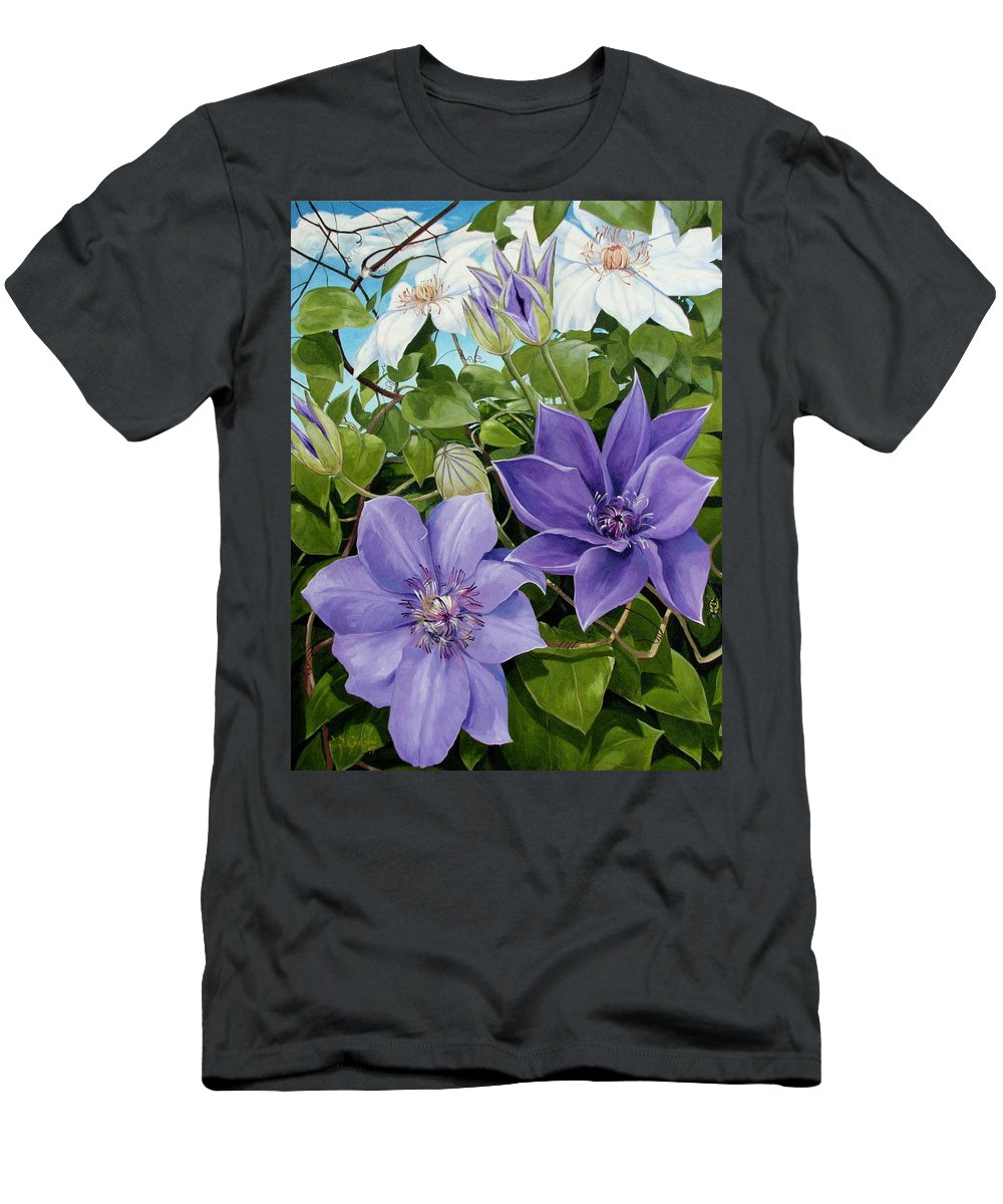 Clematis Men's T-Shirt (Athletic Fit) featuring the painting Clematis 2 by Jerrold Carton