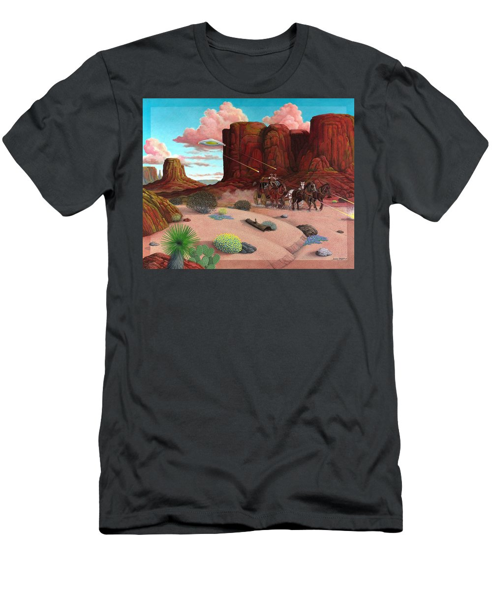 Cowboys Men's T-Shirt (Athletic Fit) featuring the painting Close Encounter by Snake Jagger