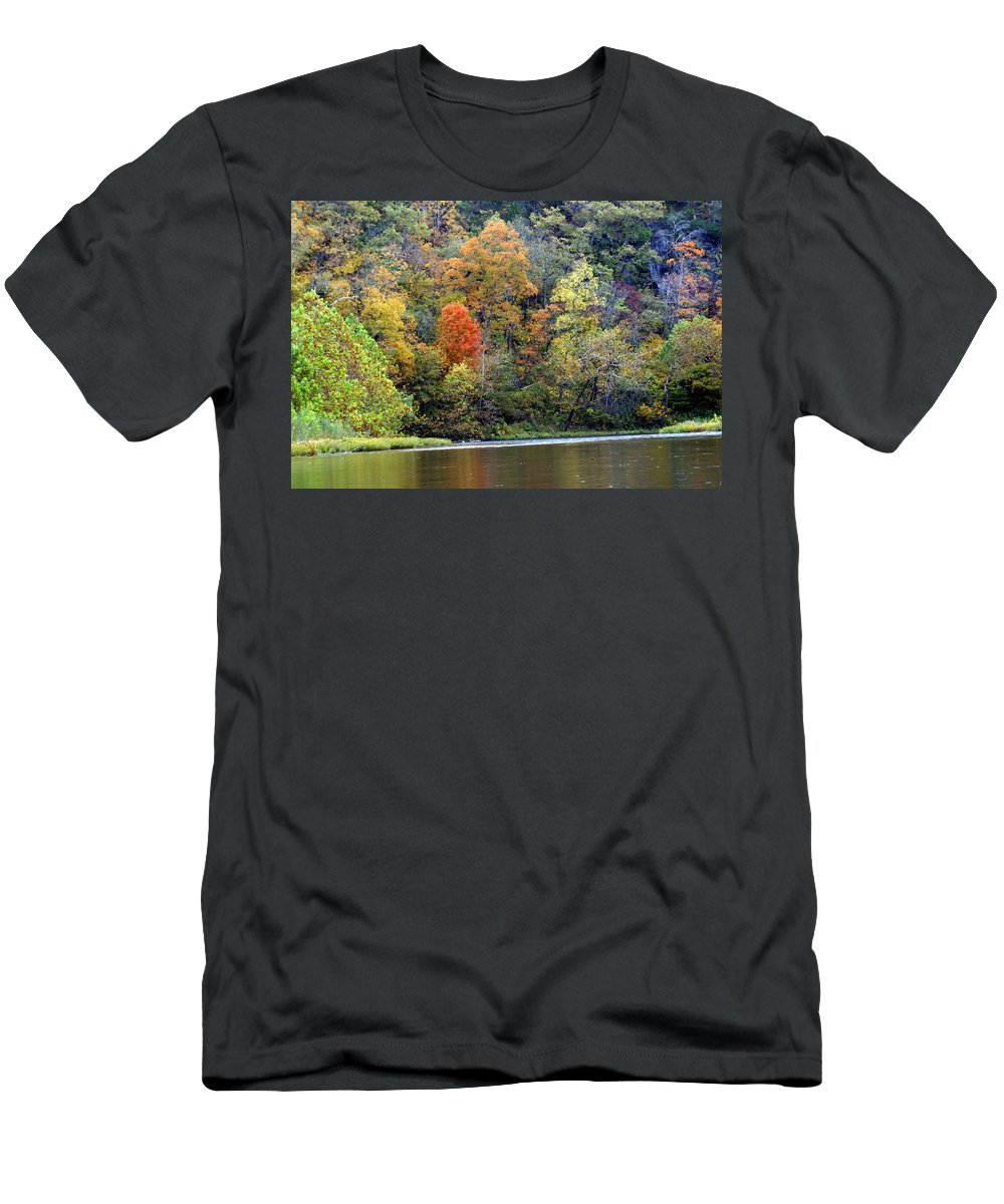 Rivers Men's T-Shirt (Athletic Fit) featuring the photograph Current River Fall by Marty Koch