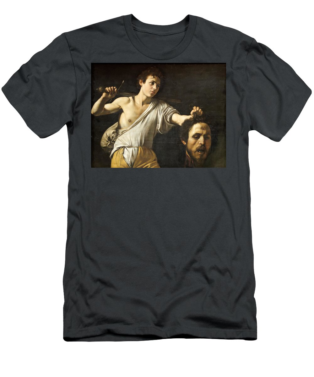 Michelangelo Caravaggio Men's T-Shirt (Athletic Fit) featuring the painting David With The Head Of Goliath by Troy Caperton
