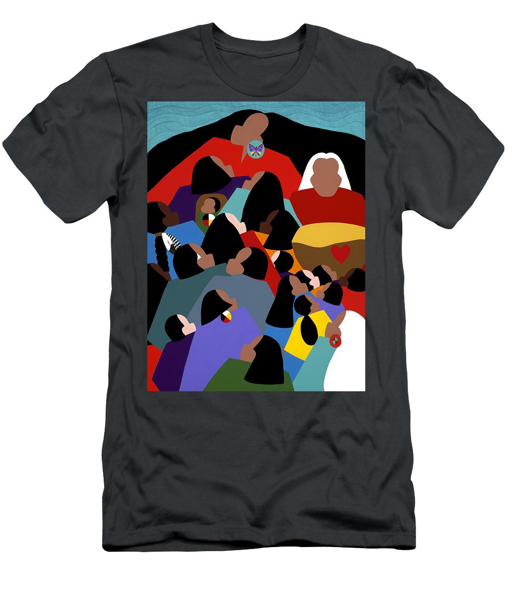 Native American Men's T-Shirt (Athletic Fit) featuring the painting Earth Mother by Synthia SAINT JAMES