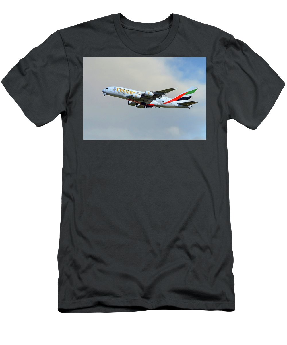 Emirates Men's T-Shirt (Athletic Fit) featuring the photograph Emirates Airbus A380-861 by Smart Aviation