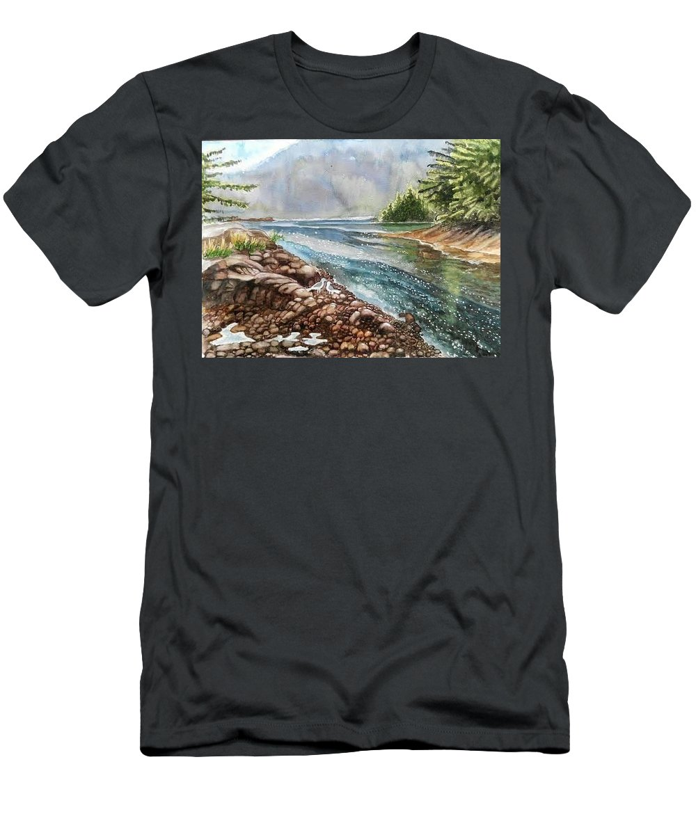 River Men's T-Shirt (Athletic Fit) featuring the painting Evening By The River by Ramesh Mahalingam