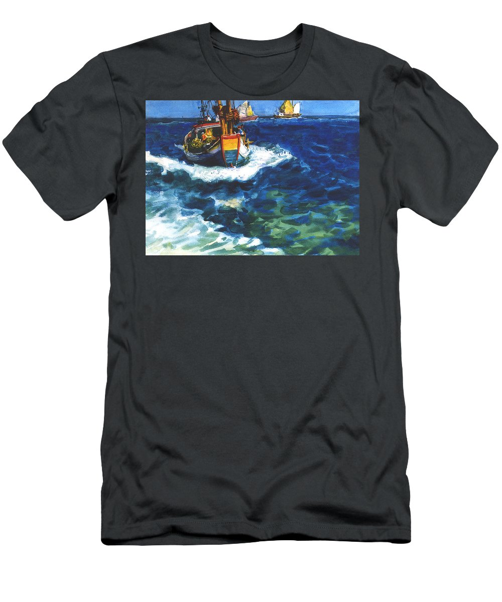 Fishing Men's T-Shirt (Athletic Fit) featuring the painting Fishing Boat by Guanyu Shi