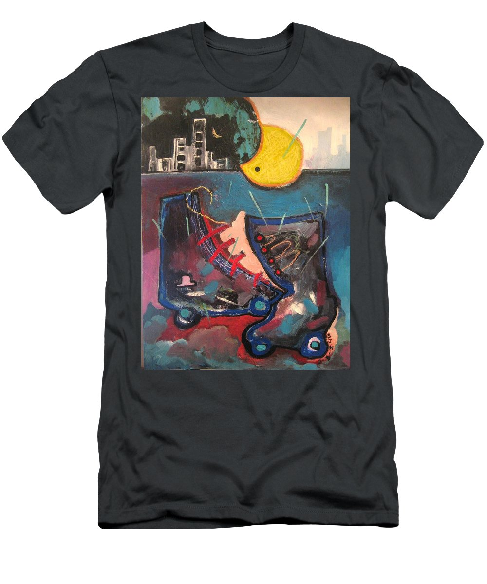 Abstract Paintings Men's T-Shirt (Athletic Fit) featuring the painting Forgotten Days by Seon-Jeong Kim