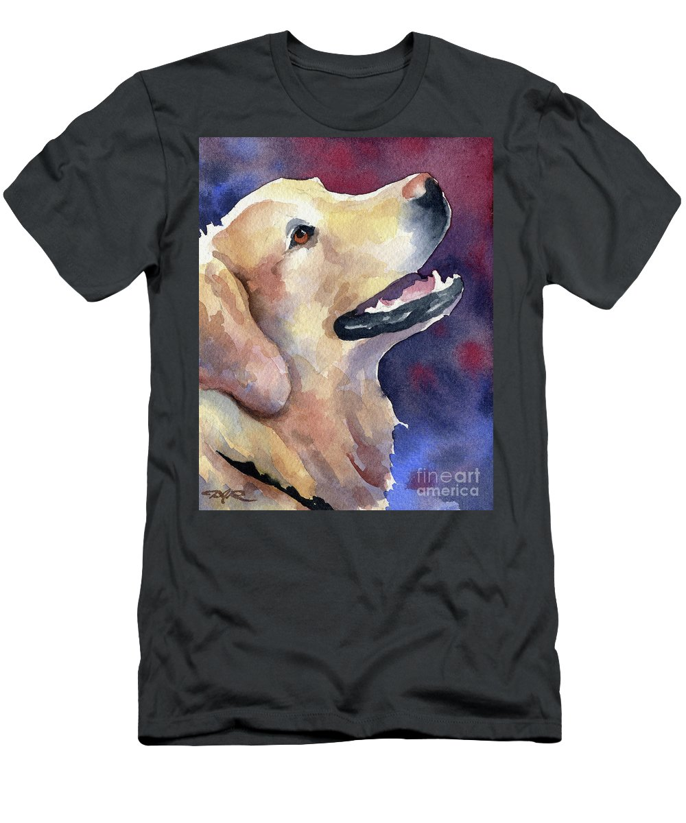 Golden Men's T-Shirt (Athletic Fit) featuring the painting Golden Retriever by David Rogers