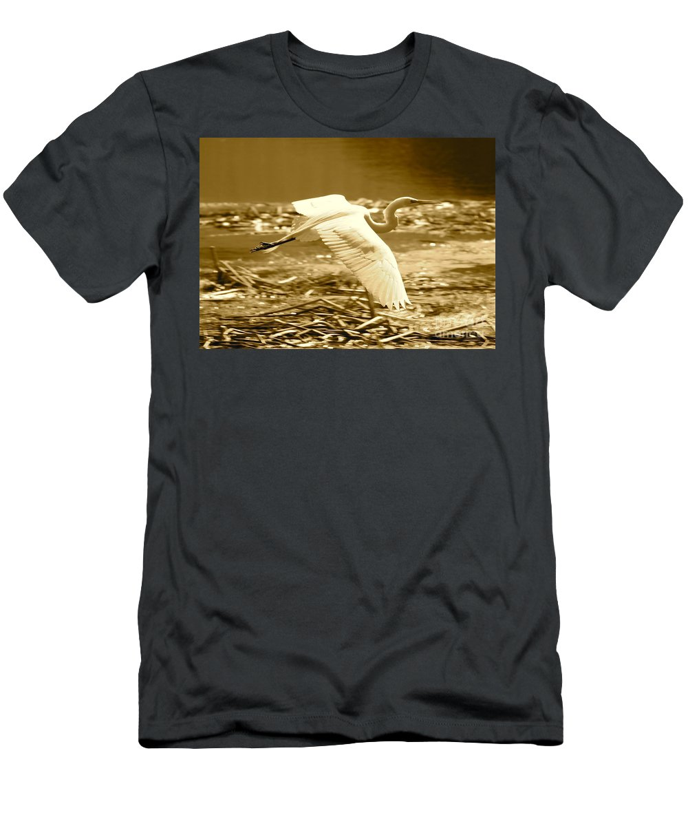 Bird Men's T-Shirt (Athletic Fit) featuring the photograph Golden Wings by Carol Groenen