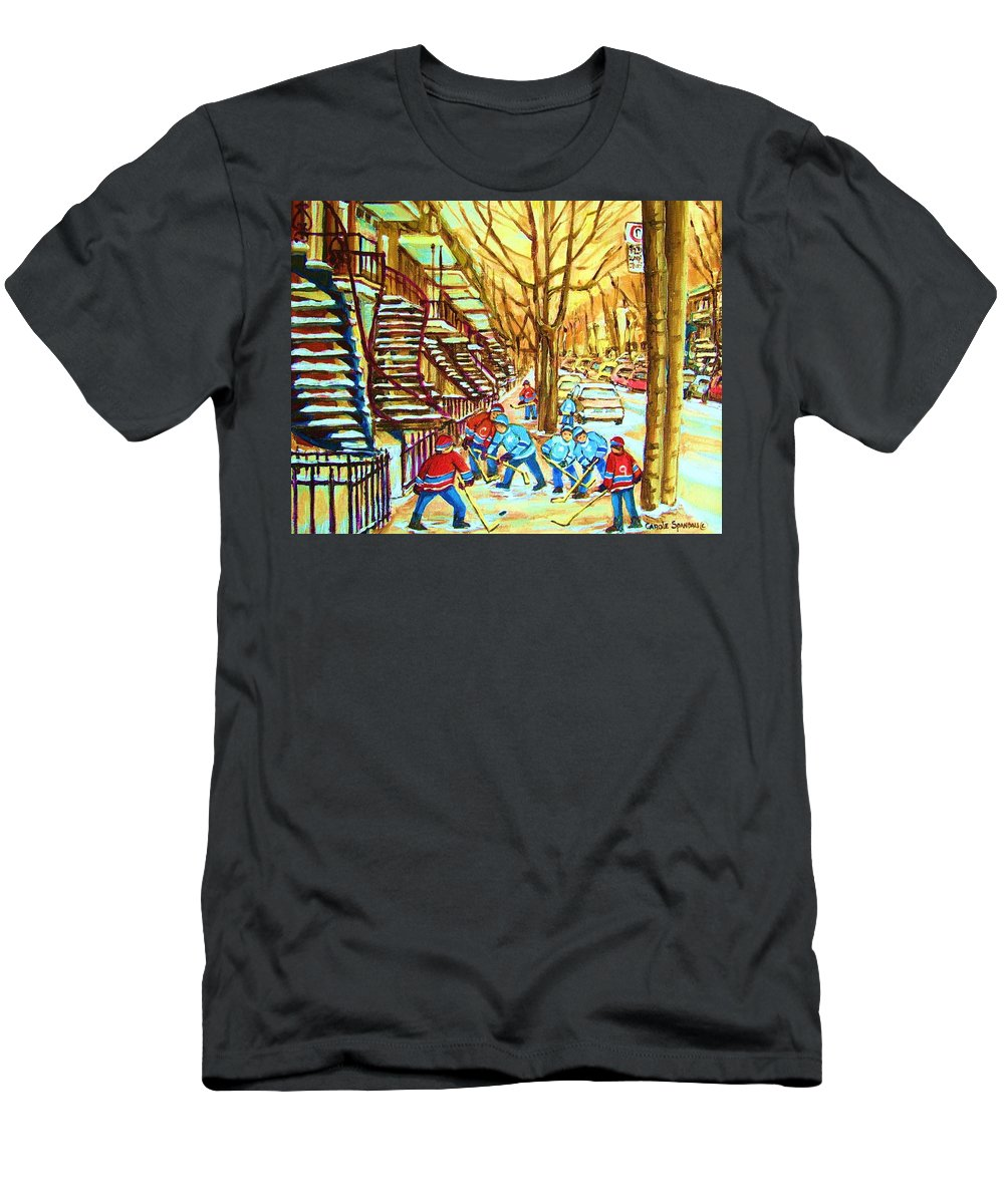 Montreal T-Shirt featuring the painting Hockey Game near Winding Staircases by Carole Spandau