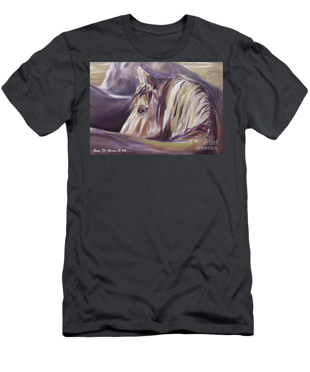 Brown Men's T-Shirt (Athletic Fit) featuring the painting Horse World Detail by Gina De Gorna