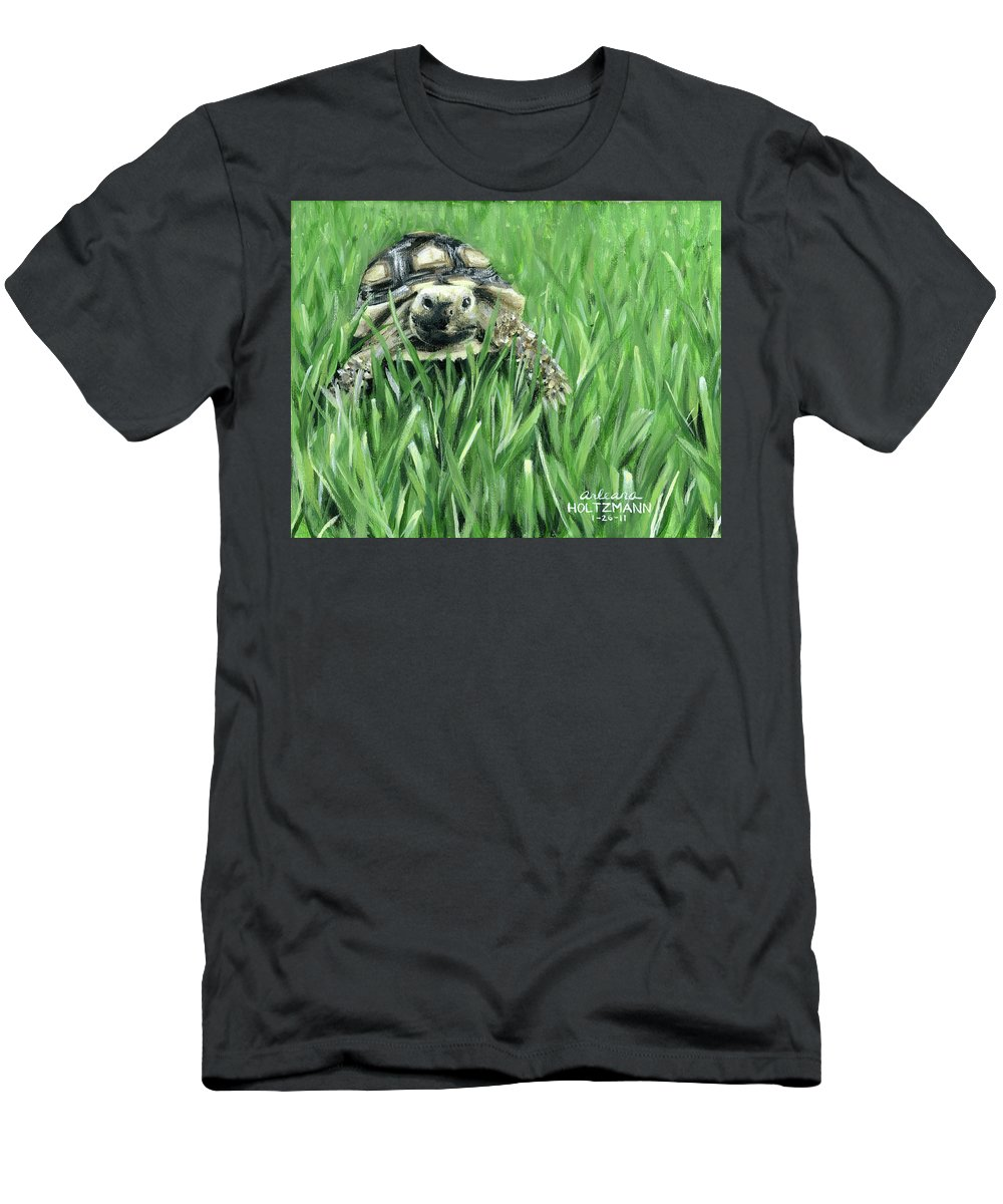 Sulcata Tortoise Men's T-Shirt (Athletic Fit) featuring the painting Howdy Dudie by Arleana Holtzmann