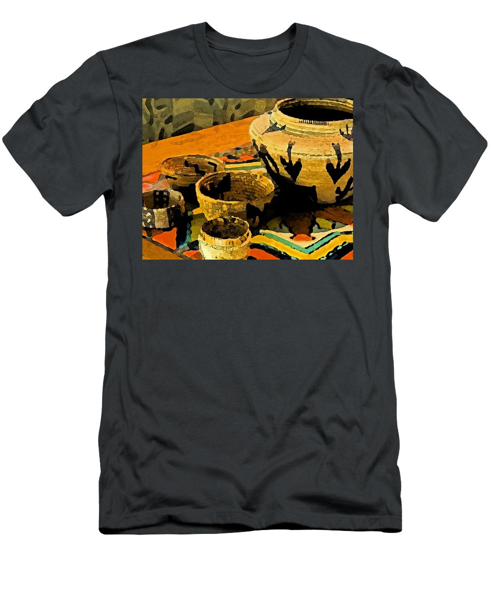 Basket Men's T-Shirt (Athletic Fit) featuring the painting Indian Baskets 2 by Stephen Anderson