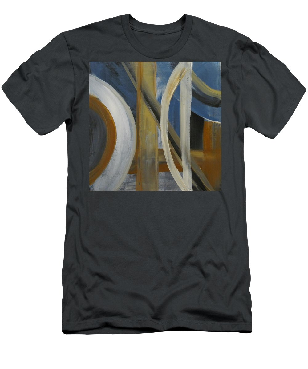 Abstract Men's T-Shirt (Athletic Fit) featuring the painting Intersection In Blue 1 by Anita Burgermeister